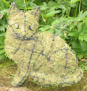 Topiary Cat sitting With Moss Filling