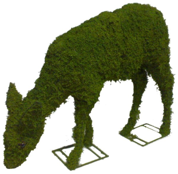 Topiary Deer eating Doe With Moss Filling