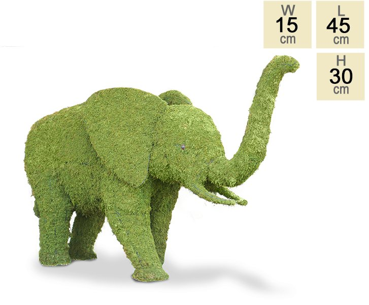 """Babi Imbali the Baby"" Topiary Elephant With Moss Filling - H30cm x L45cm"