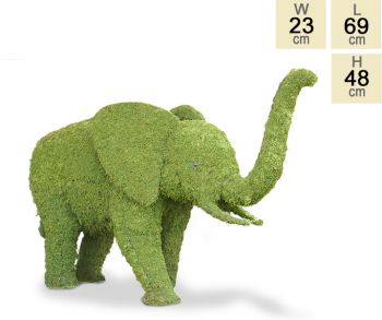 """Bisho the Son"" Topiary Elephant With Moss Filling - H48cm x L69cm"