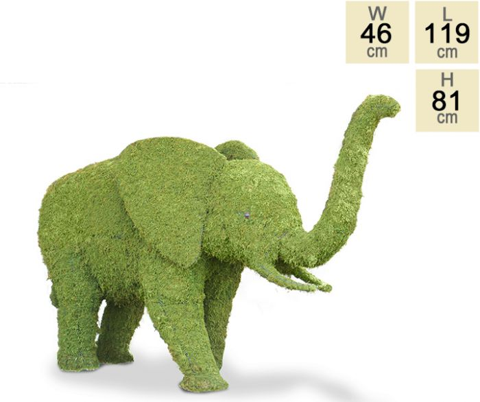 """Sabie the Daugther"" Topiary Elephant With Moss Filling - H81cm x L119cm"