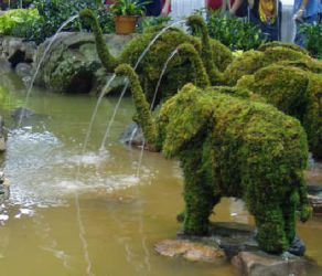 Topiary Elephant with water hose With Moss Filling