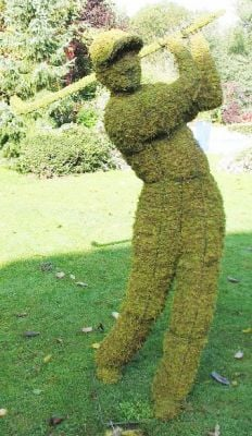 Topiary Golfer With Moss Filling
