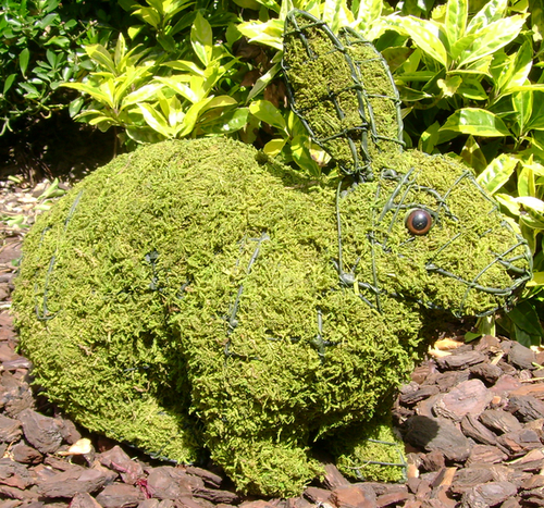 Topiary Rabbit running With Moss Filling