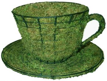 Topiary Teacup & saucer With Moss Filling