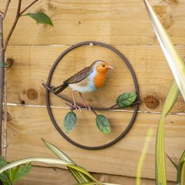 25cm x 27cm Perching Robin Wall Art by La Hacienda™