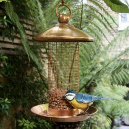 H29cm Hanging Copper Bird Peanut Feeder