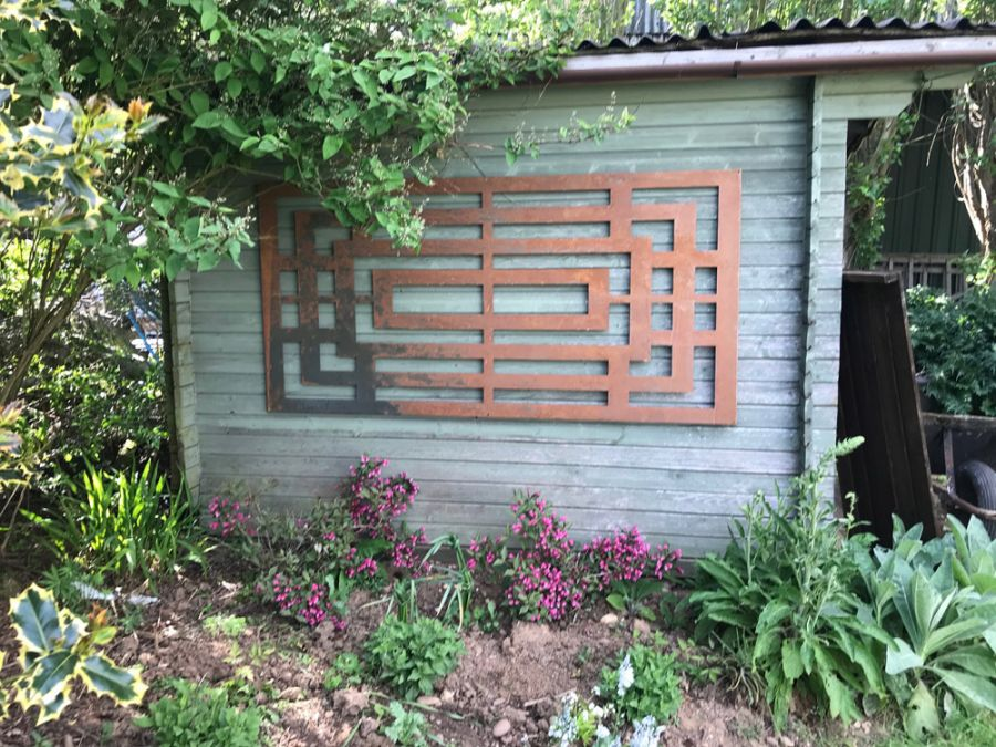 Box Maze rusty Outdoor Wall Panel (180cm x 90cm)
