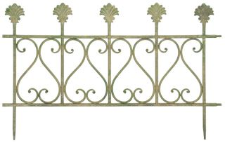 Aged Metal Fence, Green - 39cm (1ft 3in)