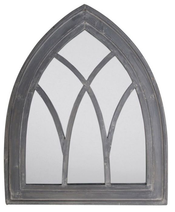 2ft 9in x 2ft 2in Gothic Arched Rustic Wooden Garden Mirror - Grey Wash