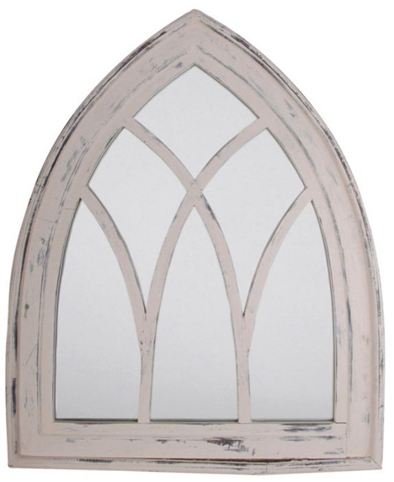 2ft 9in x 2ft 2in Gothic Arched Rustic Wooden Garden Mirror - Whitewash