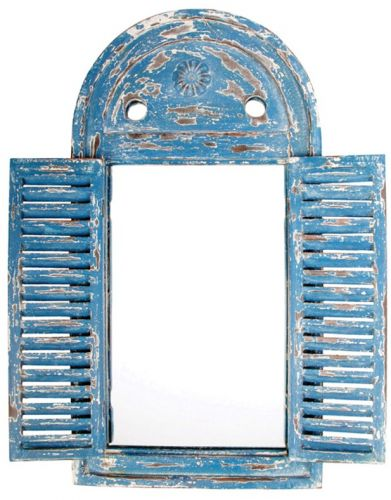 2ft 5in x 1ft 3in Louvre Rustic Wooden Garden Glass Mirror - Blue