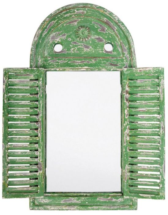 2ft 5in x 1ft 3in Louvre Rustic Wooden Garden Glass Mirror - Green