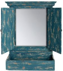 2ft 6in x 1ft 9in Shuttered Mirror with Window Box (Blue)