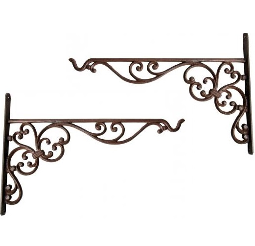 Pair of 35cm Hanging Basket Brackets - Cast Iron Hook