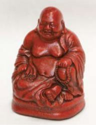Laughing Buddha Figurine - Oriental Red Finish