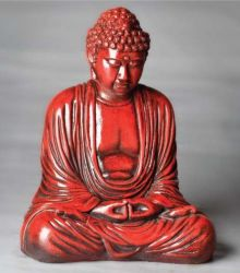 Contemplating Buddha Figurine - Orient Red