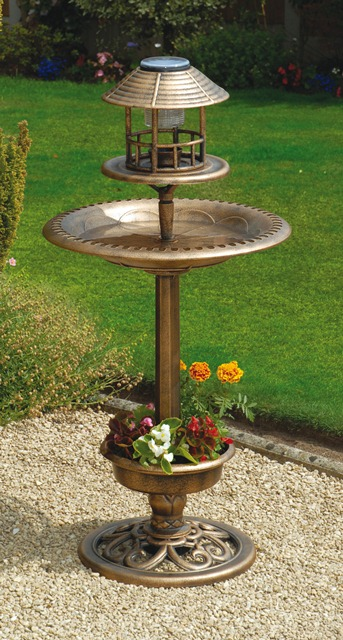Tulip Resin Bird Bath and Feeder with Solar Light and Planter (H107cm)