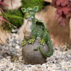 Baby Green Dragon on Sphere Garden Ornament
