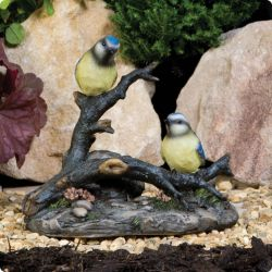 Blue Tits on a Branch Garden Ornament