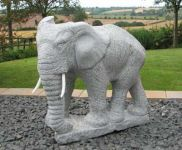 Hand Carved Elephant Garden Ornament - Grey Granite