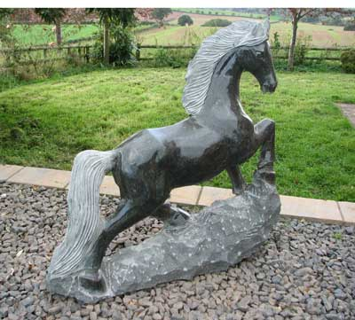 Pony on Rock Garden Ornament - Dark Grey Granite