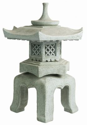 Stone Effect Chinese Hexagonal Lantern H55cm