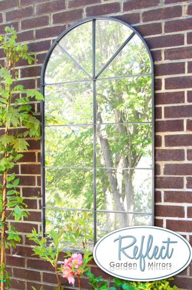 4ft 5in X 2ft 3in Metal Arch Glass Garden Mirror By