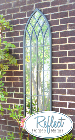 4ft 7in x 1ft 3in Metal Gothic Glass Garden Mirror - by Reflect™