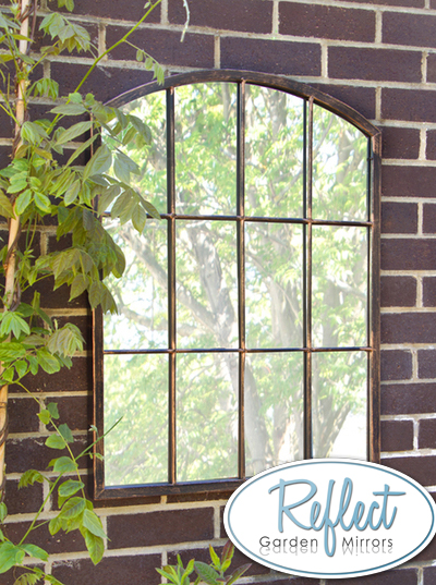 2ft 7in X 2ft Metal Arched Glass Garden Mirror By
