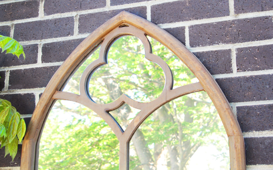 3ft 7in x 2ft Wooden Gothic Glass Garden Mirror - by Reflect™