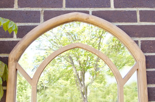 2ft 11 x 2ft Wooden Gothic Illusion Glass Garden Mirror - by Reflect™