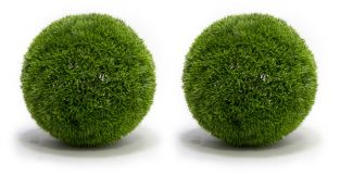 Pair of 28cm Artificial Topiary Grass Balls By Primrose®