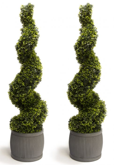 Pair of 120cm Artificial Topiary Grass Spiral Primrose™