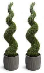 Pair of 150cm Artificial Topiary Buxus Spirals By Primrose™