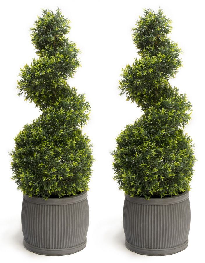 Pair of 100cm Artificial Topiary Grass Spiral By Primrose™