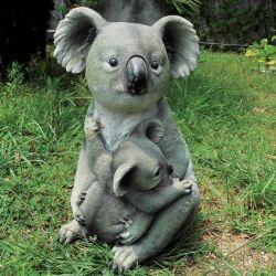 Koala Mum and Joey Sitting Resin Garden Statue - 39.5cm