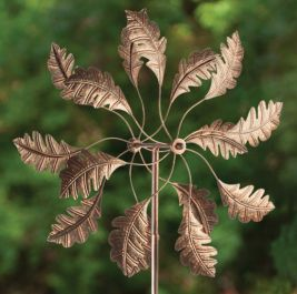 Bronze Leaf Dual Spiral Wind Spinner Sculpture Dia 46cm