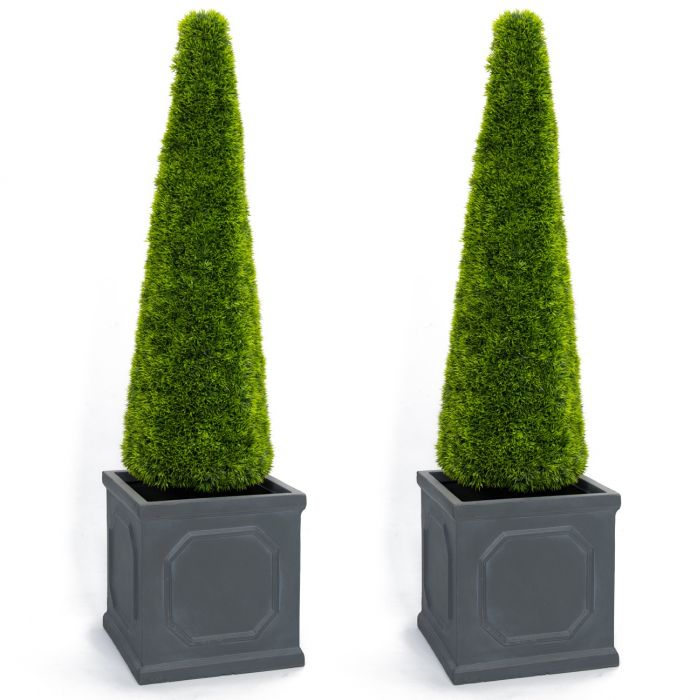 Pair of 100cm Artificial Topiary Grass Cone With Pot By Primrose™