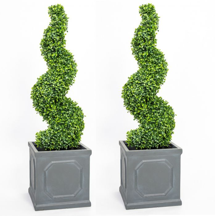 Pair of 90cm Artificial Topiary Buxus Spirals By Primrose™ - Box Topiary