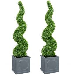 Pair of 120cm Artificial Topiary Buxus Spirals By Primrose™ - Box Topiary