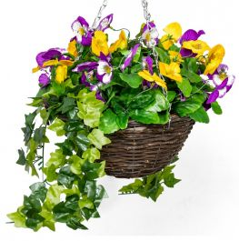 Large Artificial Pansy Hanging Basket By Primrose™ (30cm) Yellow & Purple