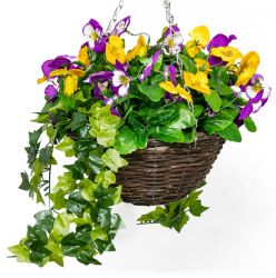 Large Artificial Pansy Hanging Basket By Primrose® (30cm) Yellow & Purple