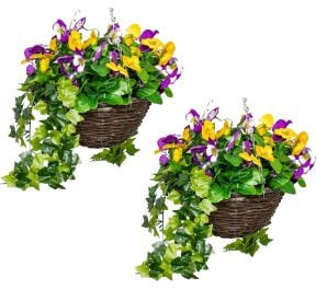 Pair of Large Artificial Pansy Hanging Baskets By Primrose™(30cm) Yellow & Purple