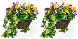 Pair of Large Artificial Pansy Hanging Baskets By Primrose® (30cm) Yellow & Purple