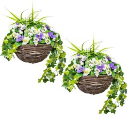 Pair of Large Artificial Pansy Hanging Baskets By Primrose™ (30cm) Purple & White