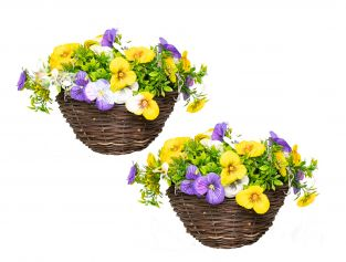 Pair of Medium Artificial Pansy Hanging Baskets By Primrose™ (25cm) Yellow, Purple & White