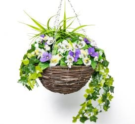 Large Artificial Pansy Hanging Basket By Primrose® (30cm) Purple & White