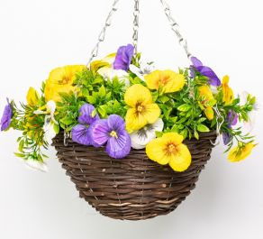 Medium Artificial Pansy Hanging Basket By Primrose™ (25cm) Yellow, Purple & White