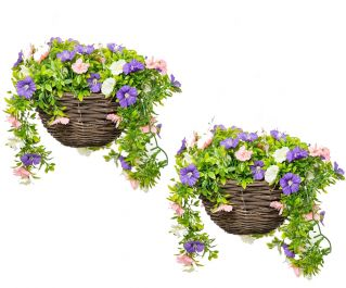 Pair of Medium Artificial Petunia Hanging Baskets By Primrose™ (25cm) Pink, Purple & White
